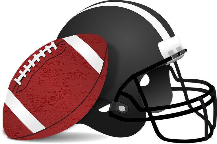 a football helmet and ball are shown.