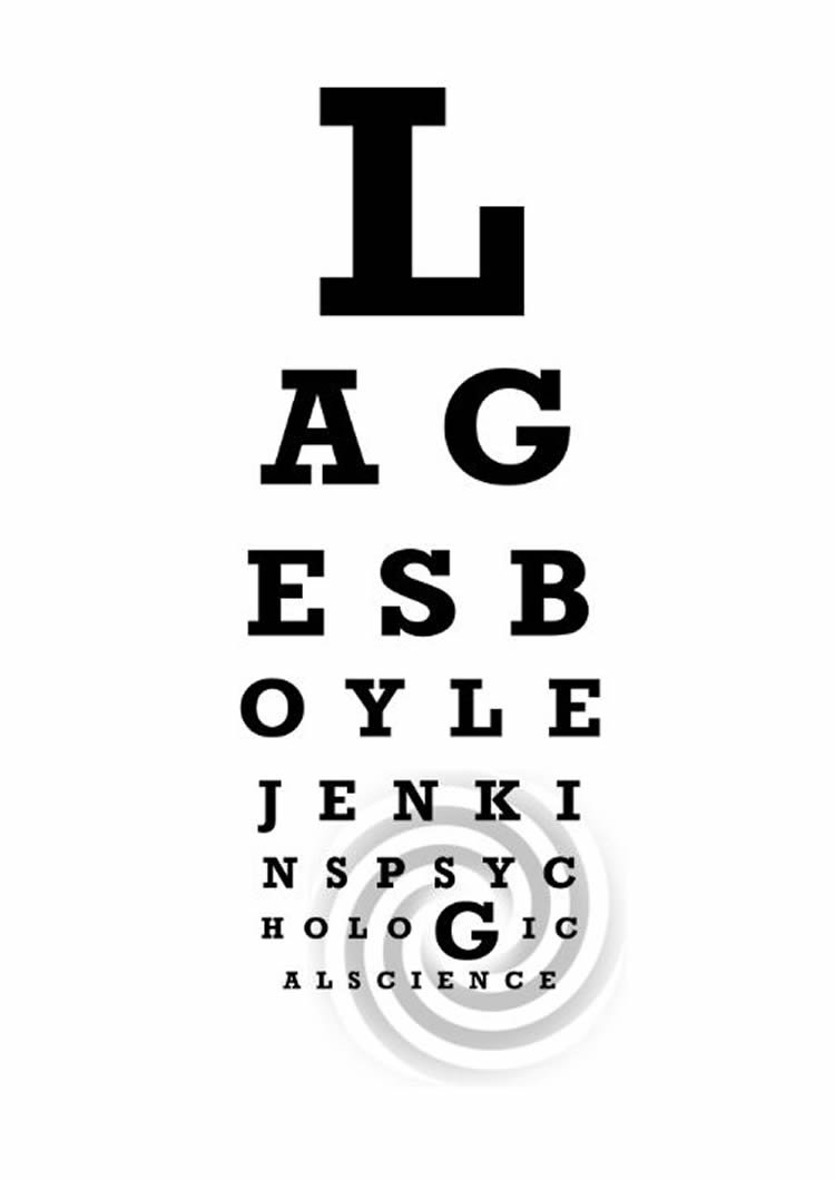 Image shows a swirl and an eye chart.