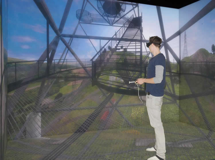 This image shows a person in a VR environment.
