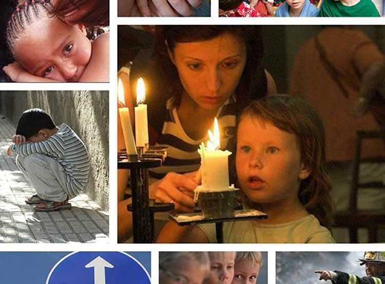 Image shows children crying and disaster signs.
