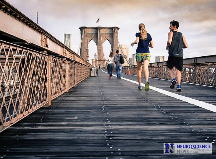 Image shows a couple running.
