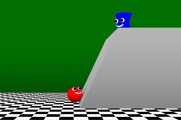Image shows a ball and a rectangle with faces.