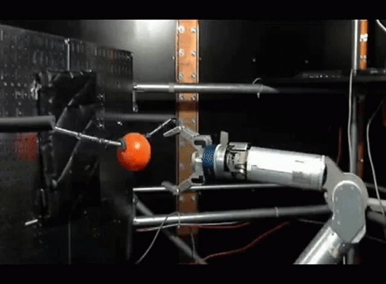 Image shows the robotic arm grasping a ball.