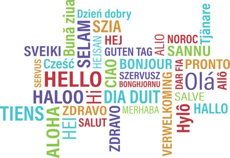 Image shows the word Hello in different languages.