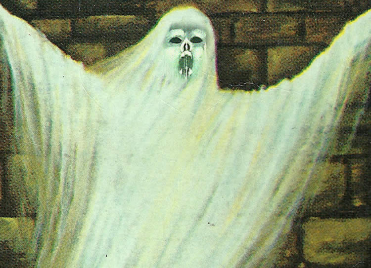 Image shows a painting of a ghost.