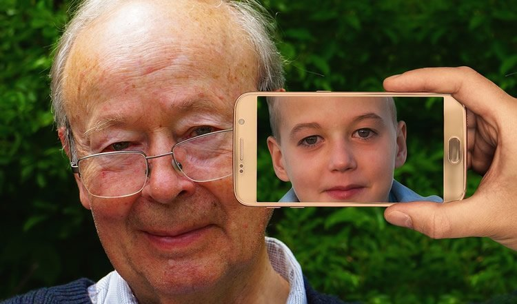 old and young person