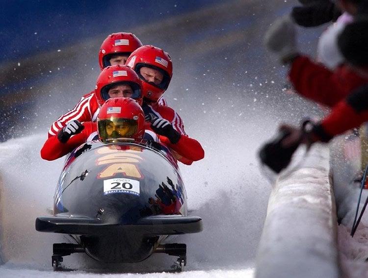 Image shows a bob sledge team.