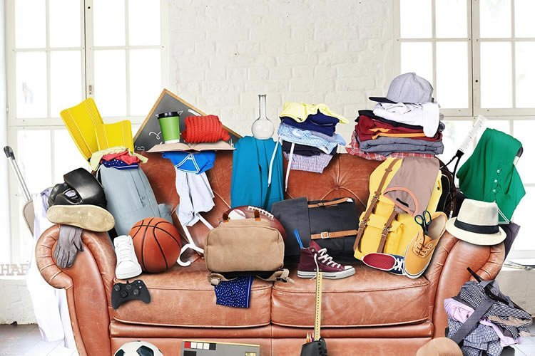 a sofa full of objects