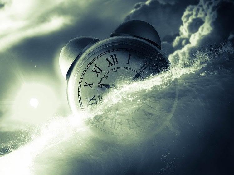 an alarm clock in clouds