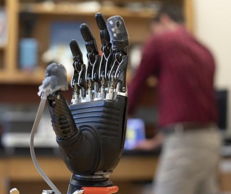 the e-dermis on a robotic hand
