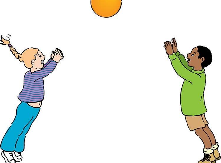 a cartoon of a boy and girl throwing a ball