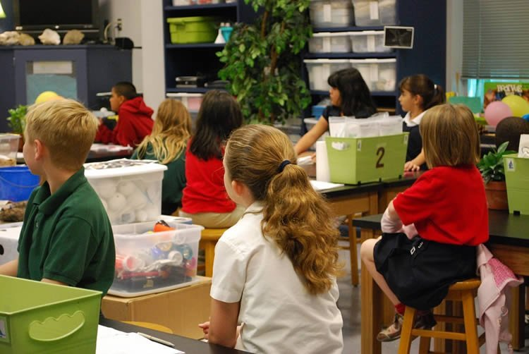 kids in a class room