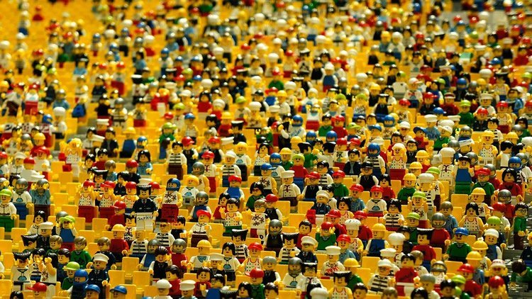 lots of lego people in a crowd