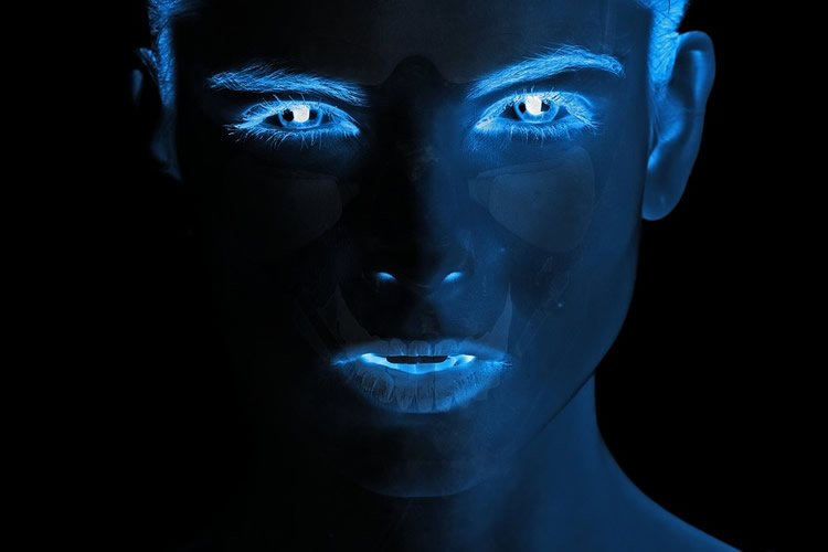 a blue face