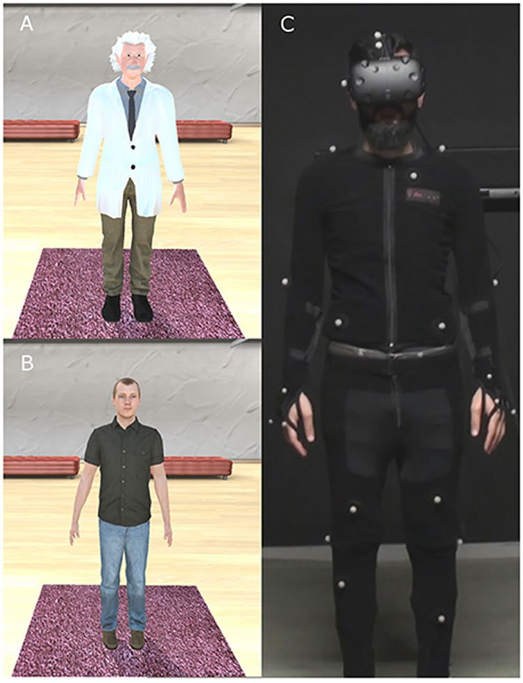 Image shows the VR einstein simulation and a person in a full body vr suit