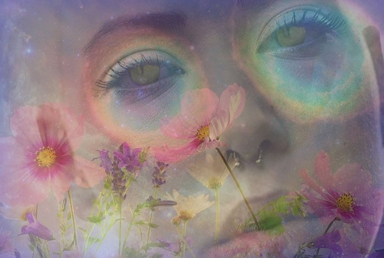 a woman's face with a psychedelic background