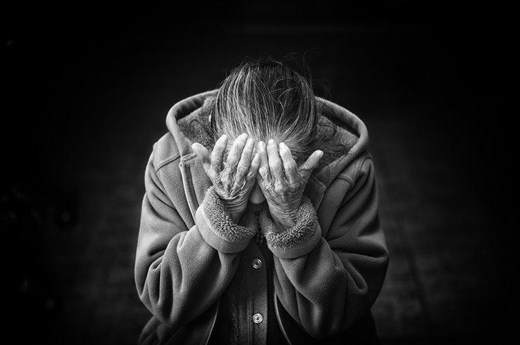 a depressed older lady