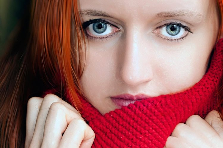 a woman with red hair