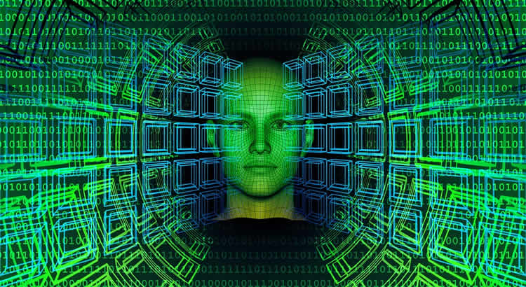 This shows a face behind computer code