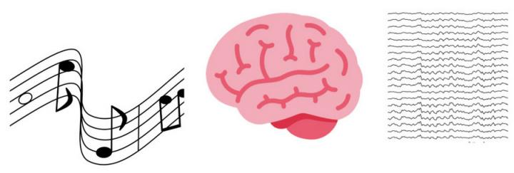 Musical notation is drawn next to a brain graphic.
