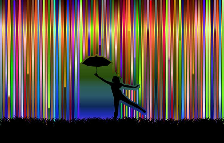 This shows a person dancing through a rainbow with an umbrella