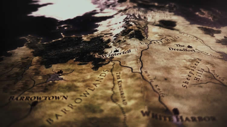 This is a map of Winterfell in Game of Thrones from the HBO show graphics
