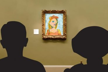 This shows robots looking at a picture
