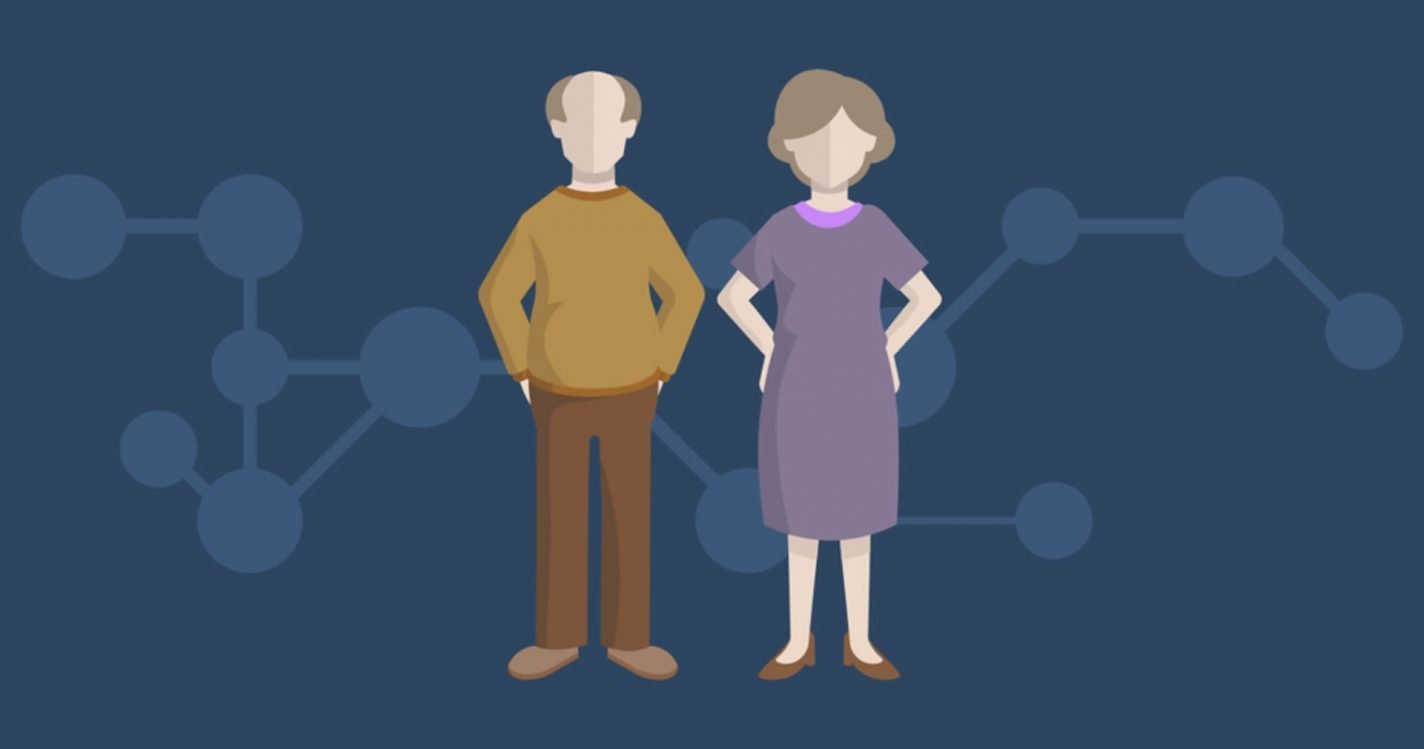 This is a cartoon of an old couple