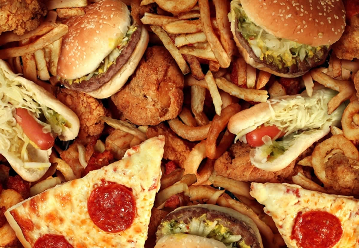 This shows pizza, burgers and other junk foods
