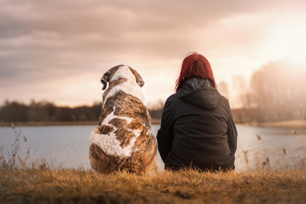 This shows a woman and a dog sitting by a river