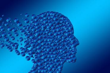 This shows a blue head made of bubbles