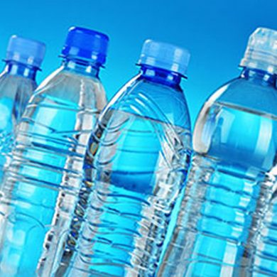 This shows plastic water bottles