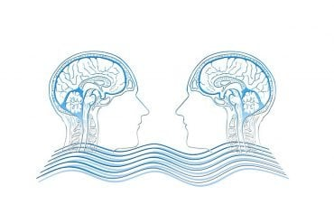 This shows two brains connected by waves