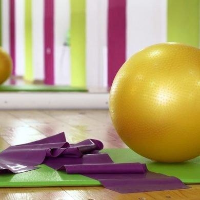 This shows yoga balls
