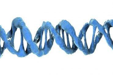 This is a blue DNA double helix