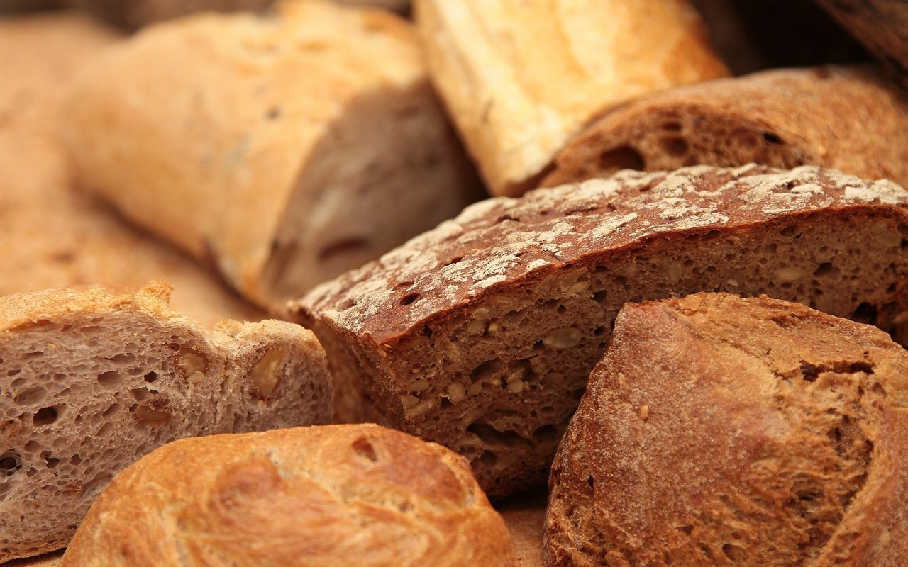 Loaves of bread are shown here