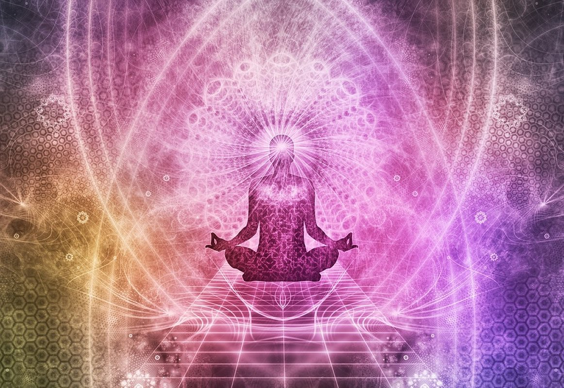 This shows a swirly meditating person