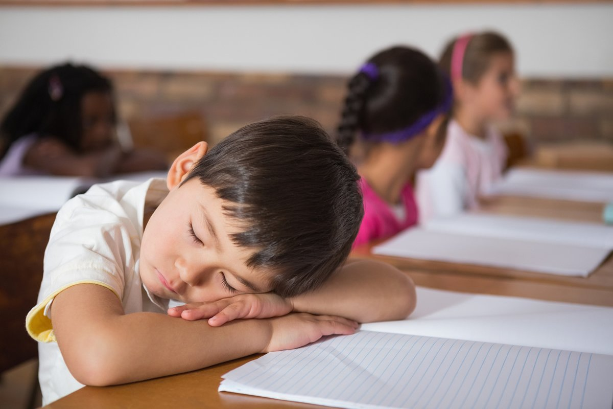 This shows a young boy taking a nap on his school desk