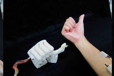 This shows the hand mimicking rock, paper, scissors
