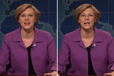This shows SNL personality Kate McKinnon and Elizabeth Warren