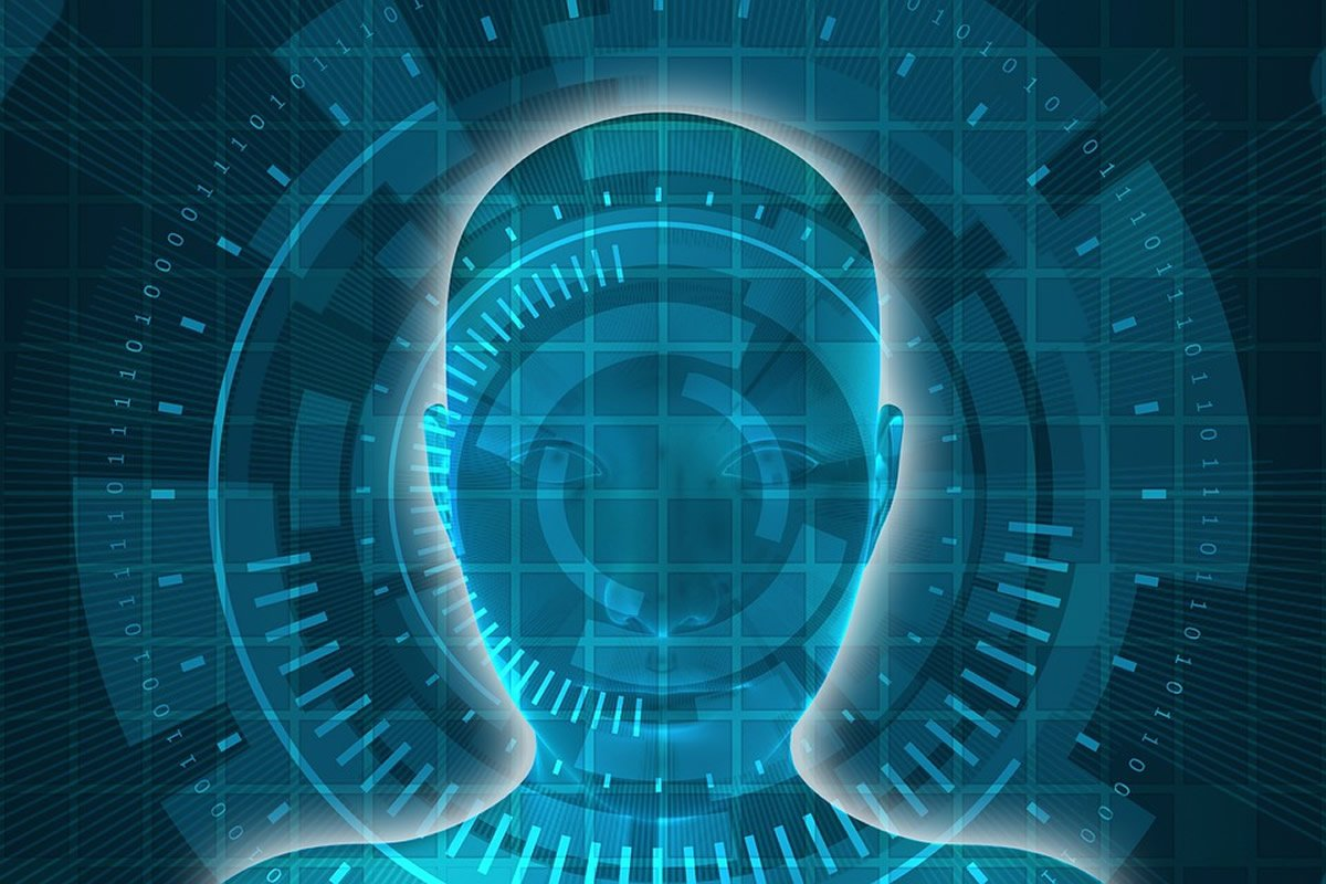 This shows a computerized face