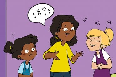 This shows a cartoon of children talking to an adult