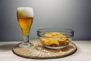 This shows beer and chips