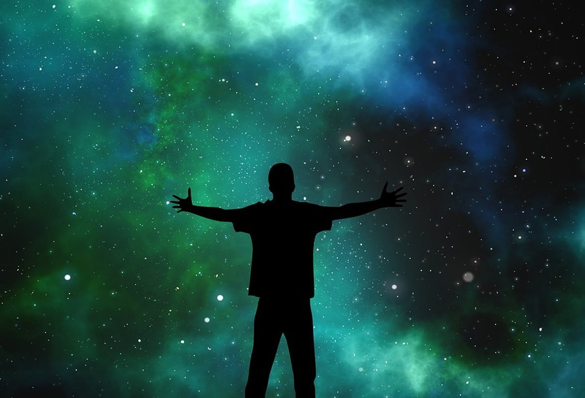 This shows the outline of a man staring at the cosmos