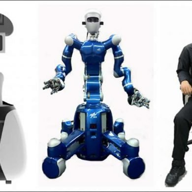 This shows two robots and a man