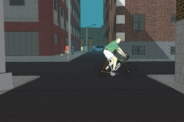 This shows a simulation of a person cycling