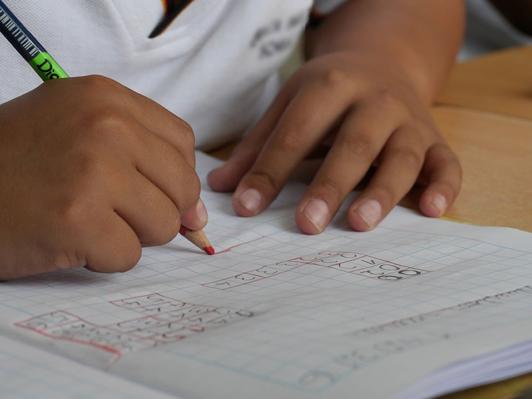 This shows a child writing