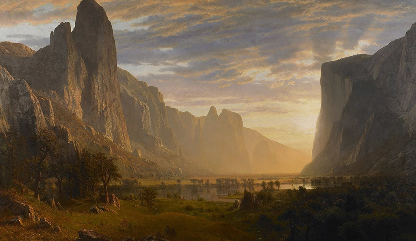 """Looking Down Yosemite Valley, California,"" (1865) by Albert Bierstadt, located at the Birmingham Museum of Art."