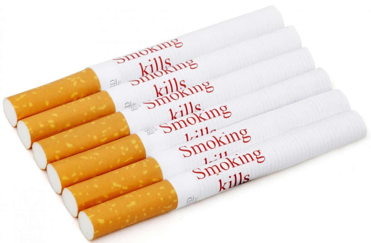 This shows the cigarette with the warnings written on them