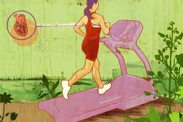 This is a cartoon of a woman jogging on a treadmill